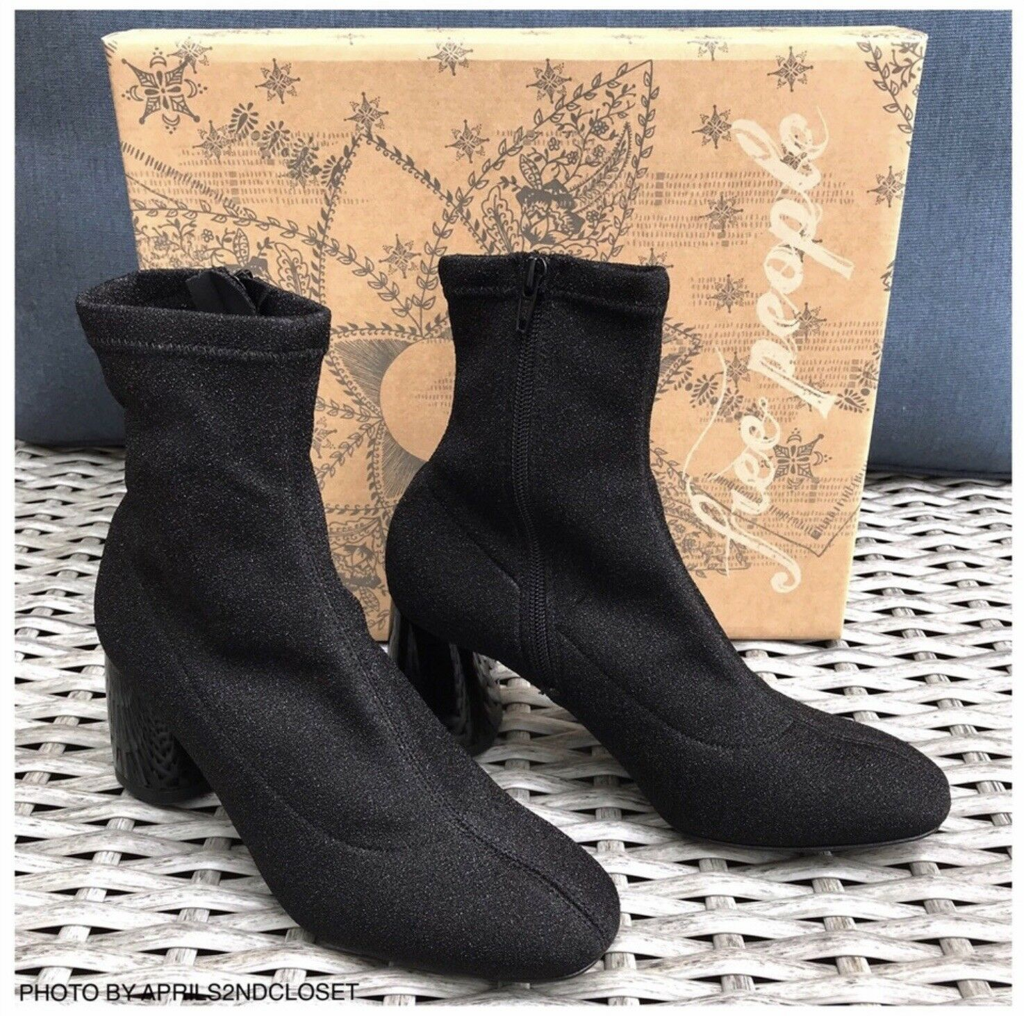Free People Sparkle Stretch Heeled Ankle Boots Size 8