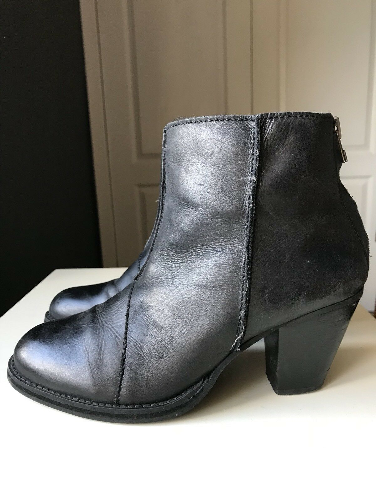 NEXT Designer Black Leather Women Ladies Ankle High Heel shoes Boot Size 6 39