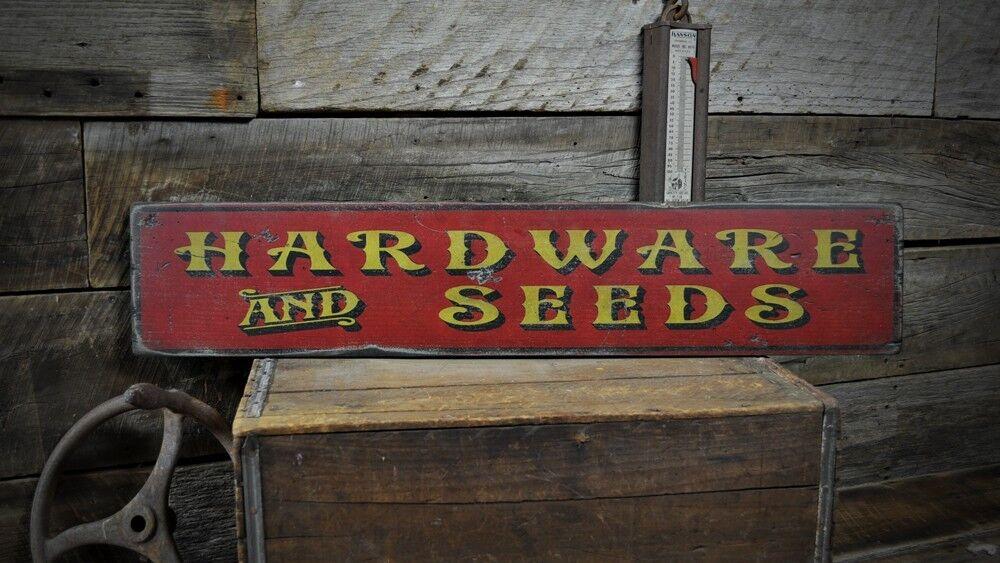 Primitive Hardware & Seeds Sign -Rustic Hand Made Vintage Wooden Sign ENS1000449