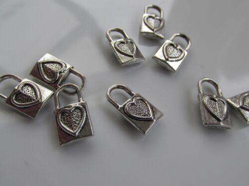 Jewellery Craft Design Tibetan Silver Square Heart Padlock Tag Charm Pendant Pk