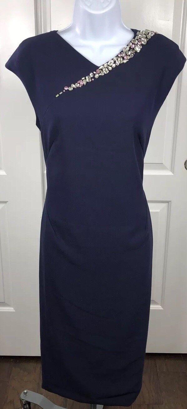 London Dress Company Navy Jeweled Sheath Dress. NWT. Size 8