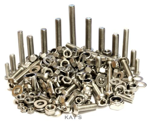 A2 Stainless Steel Button Head Bolts/Allen Key Screws, Nuts & Washers, 300 Pack