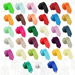 Manzini-Neckwear-Hot-Trend-Plain-Men-039-s-Solid-Skinny-Tie-Party-wedding-Necktie