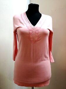 Bestickt V ausschnitt elastan Arm damen 3 4 Elegant 40 42 Shirt Viskose qvZFHF