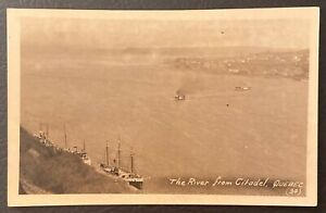 QUEBEC-CANADA-THE-RIVER-FROM-CITADEL-BOATS-IN-WATER-POSTCARD-J21