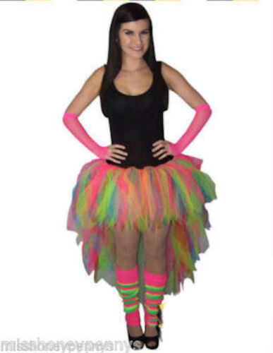 NEON MULTICOLOUR TUTU SKIRT LONG BACK HEN PARTY LEGWARMERS GLOVES ALL SIZES 80/'S