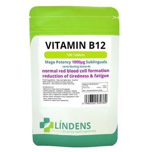 Vitamin B-12 1000mcg High Potency 1-a-day 3-PACK 300 Sublingual Tablets B B12 5060332530380