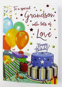 Special Grandson Happy Birthday Greeting Card Envelope Seal Luxury Quality Boy Ebay