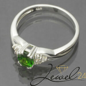 Damen-Riviere-Ring-echt-Silber-925-Sterling-mit-Chromdiopsid-und-Topas-57-18-1MM