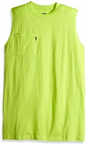 Key Apparel Men's Sleeveless Tee, Neon Green, Lar… - image 1