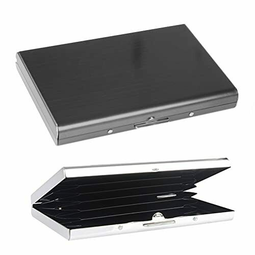 2 Pcs Credit Card Metal Case Curved Design Brushed Stainless Steel Card Case
