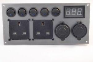 VW-Transporter-Camper-Switch-Panel-12V-240V-2-1A-USB-Monitor-T4-T5-T6-Silver