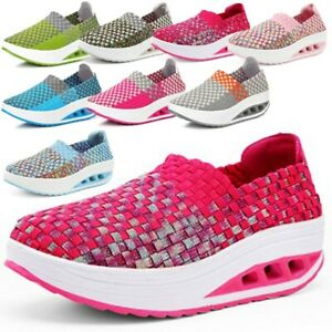 8-Colors-Hot-Women-039-s-Sneakers-Fitness-Sport-Shoes-Weave-Slip-on-Outdoor-Shoes-US