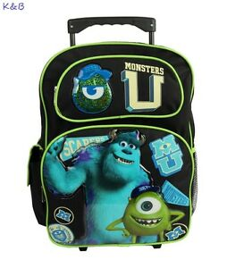 "Brand New Monsters University 16"" LARGE ROLLING BACKPACK For Boys - USA SHIP!"