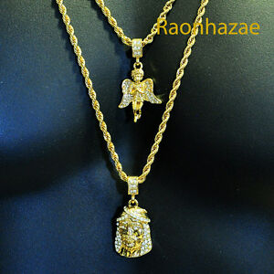Iced out mini angel jesus micro pendant 24 30 rope chain combo image is loading iced out mini angel amp jesus micro pendant aloadofball Image collections