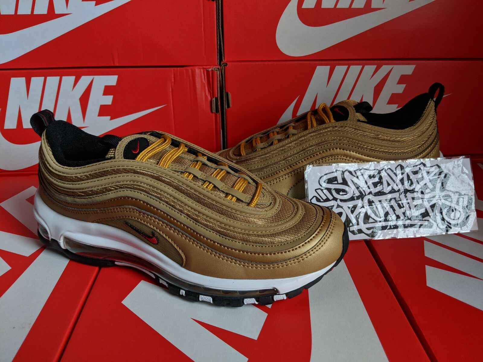 Nike Women Air Max 97 OG QS Metallic Gold Varsity Red Bullet Running 885691-700 Special limited time