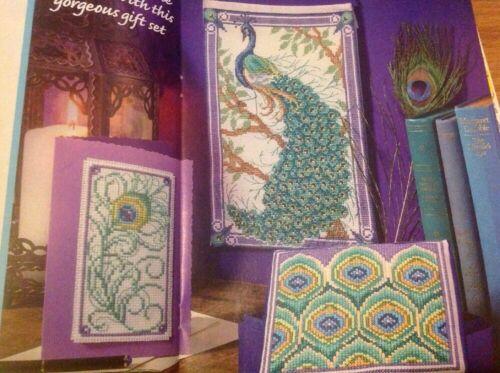 Joan Elliott Peacock Bird Feather Card Trinket Box Cross Stitch Chart