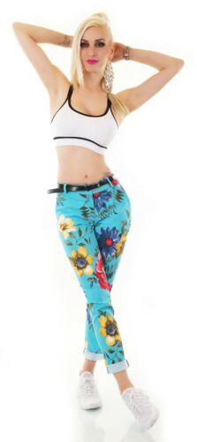 Italy Damen Hose Stoffhose Stretch Business Blumen Muster Gürtel S M L XL XXL