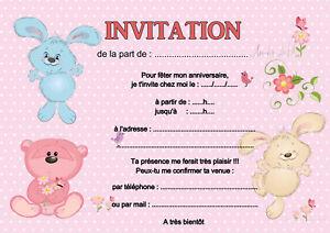 Détails Sur 5 12 Ou 14 Cartes Invitation Anniversaire Nounours Ourson Mignon Réf 463