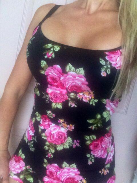 ROSES DAISY LILY Floral cami camisole spaghetti straps cotton S M L XL