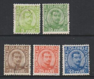 Iceland-1921-2-5a-Sage-Green-40a-Blue-stamps-F-U-SG-132-6-a