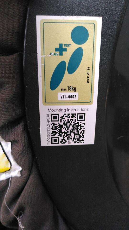 Autostol, op til 18 kg , Be Safe Izi kid isofix