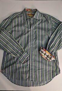 ROBERT-GRAHAM-Men-039-s-L-S-Flip-Cuff-Shirt-Lime-Green-Blue-Stripe-Size-XL