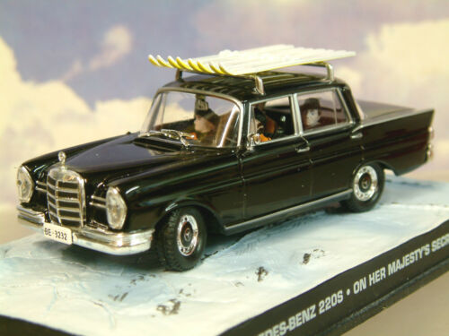 1/43 James Bond 007 Mercedes-Benz 220s 220 Schwarz ON HER Majestäts Spielzeugautos