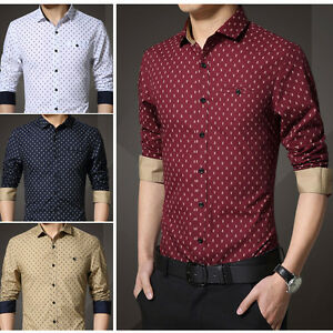 New-Men-039-s-Fashion-Luxury-Casual-Slim-Fit-Stylish-Dress-Shirts-Long-Sleeves-5252