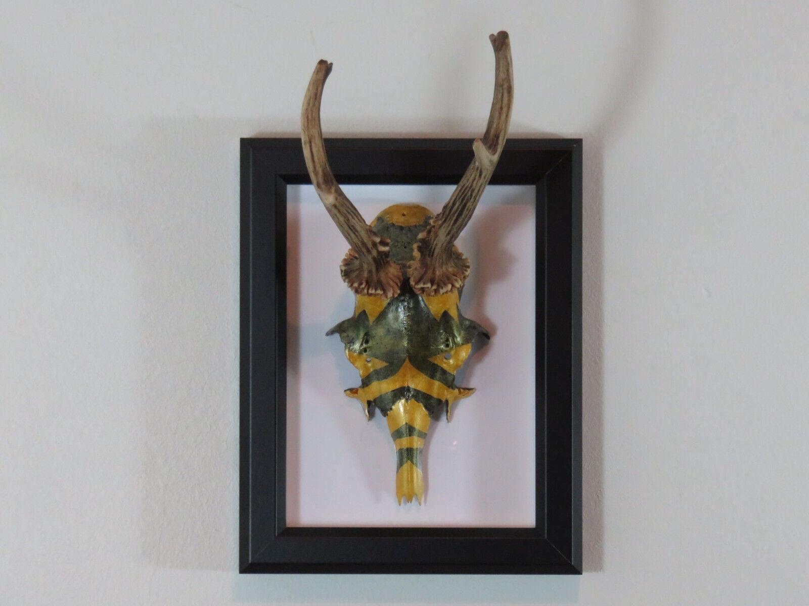 Asta De Arte-Pintado a Mano corzo cornamenta en un marco para WALLMOUNTING directa