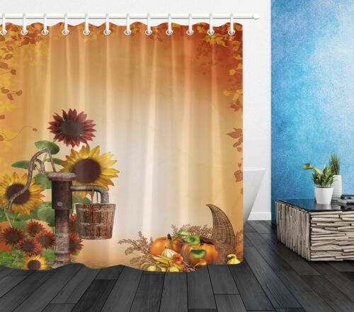 Waterproof Fabric Autumn Sunflowers with Cornucopia Shower Curtain Bathroom Set