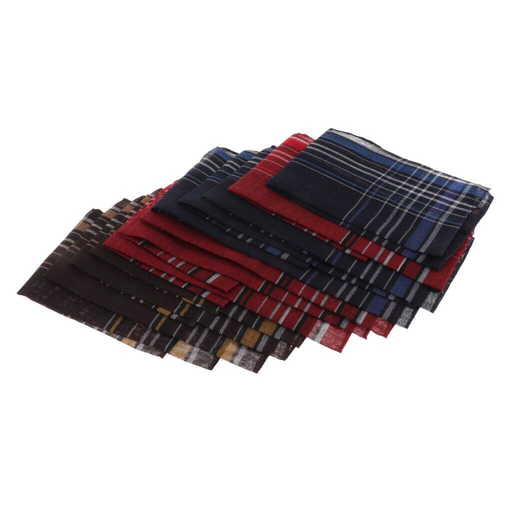 Pack Of 12 Men Fashion Plaid Cotton Handkerchief Hanky Pocket Square