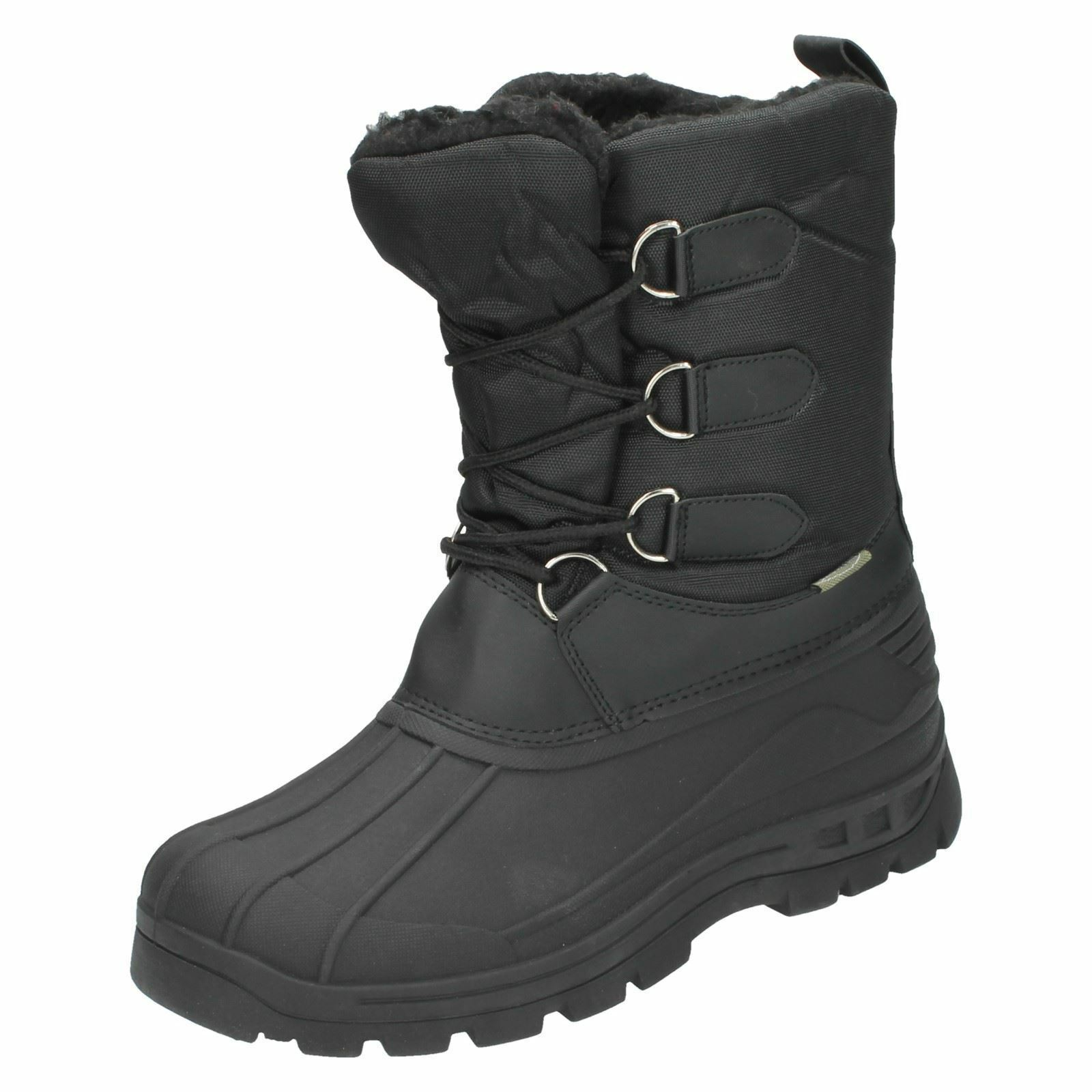 Ladies 8.562304A Black Nylon Lace Up Boots By Snow Fun £19.99