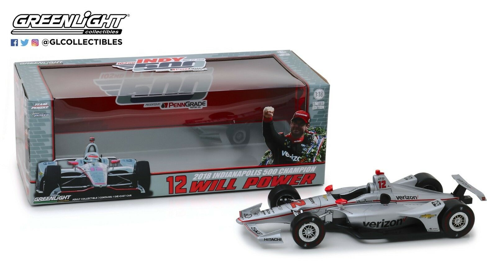 producto de calidad verdeLight verdeLight verdeLight 1 18 2018  12 Will Power Team Penske  Indianapolis 500 Champion 11046  ¡envío gratis!