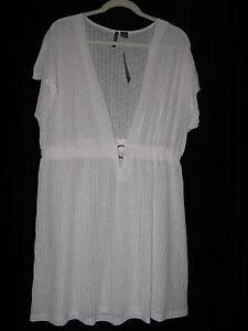 999b98784e86d Portocruz 1X Women's White Beach Swimsuit Cover-up Cap Sleeve Sun ...