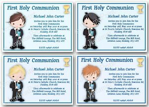 personalised boys first holy communion invitations blue x10 with