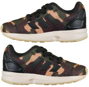 online retailer 7a320 2d7cd Details about Adidas Originals ZX Flux Boys Camo Baby Infant Trainers Army  Camouflage New