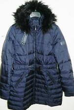 DKNY Women Hooded Faux Fur Trim Down & Feather Coat Navy NWOT Size L MSRP $275