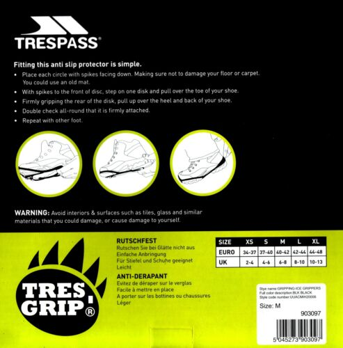 TRESPASS préhension anti glissement de Glace Neige Protecteur de poids léger Pointure FREE P/&P