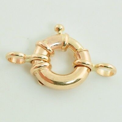 12.5MM 14k Solid Yellow Gold Designer Italy Spring Ring Clasp CLOSED