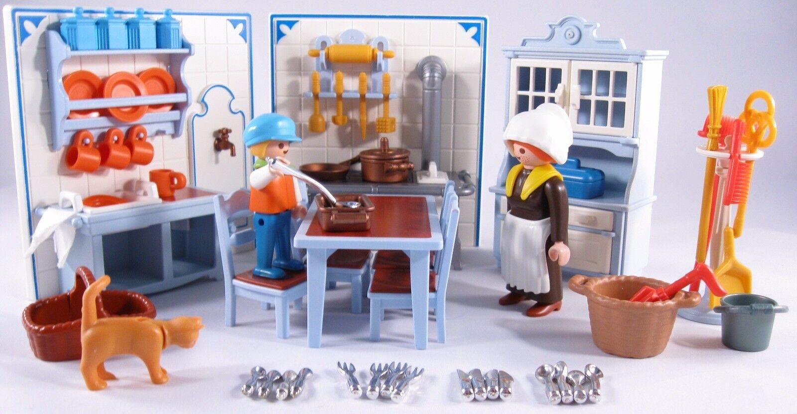 PLAYMOBIL VINTAGE 5322 KITCHEN blu VICTORIAN MANSION HOUSE 5300-100% EXCELLENT