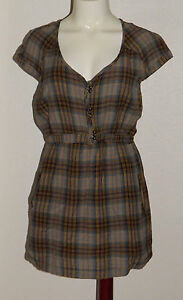 Ecote-Plaid-Shirt-Tunic-Top-Women-Size-Small-Urban-Outfitters-MISSING-ONE-BUTTON