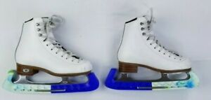 Riedell-White-Leather-Ice-Skates-9K-8-1-3-Quest-Onyx-Blades-Size-1M-JY