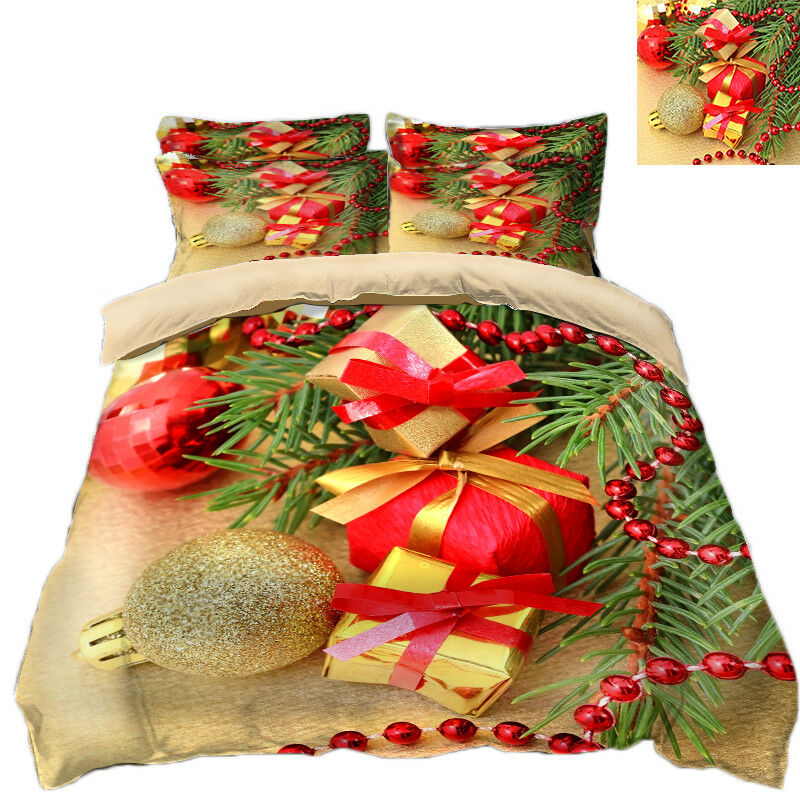3D Christmas Xmas Gift 6454 Bed Pillowcases Quilt Duvet Cover Set Single KingUK