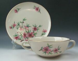 Lenox-China-PEACHTREE-Cream-Soup-Bowl-and-Saucer-Set-s-EXCELLENT
