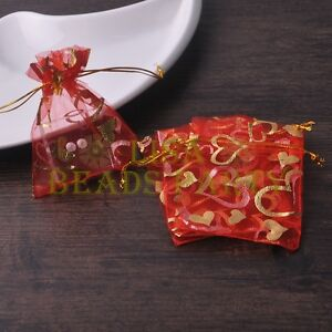 100pcs-7x9cm-Organza-Wedding-Party-Decoration-Gift-Candy-Bags-Pouches-Red