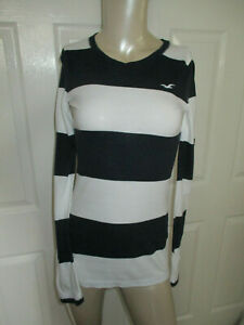Hollister-Juniors-XS-Long-Sleeve-Tee-Top-Black-amp-White-Striped