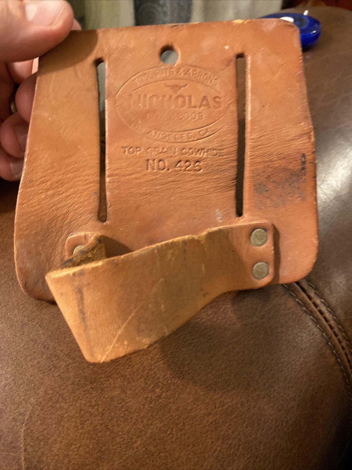"""Vintage Nicholas USA No.426 Tool Pouch """"TOP Grain Cowhide"""" Free Shipping-EUC"""