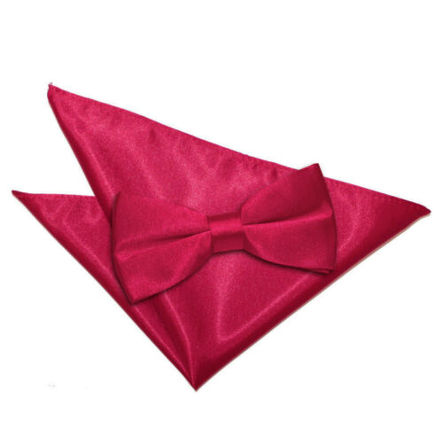 DQT Satin Plain Solid Crimson Red Mens Pre-Tied Bow Tie Hanky Wedding Set