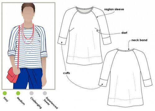 fp mltb 008S-M Gratis Reino Unido P/&p estilo arco Damas patrón de costura Maddison Top